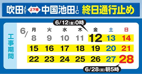 中国自動車道(吹田JCT~中国池田IC)終日通行止めを実施