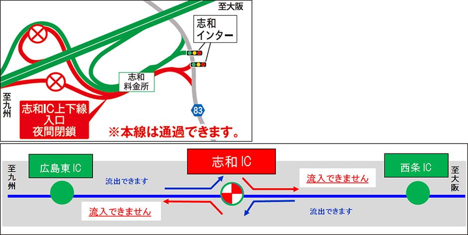 山陽自動車道 志和IC入口・出口夜間閉鎖を実施