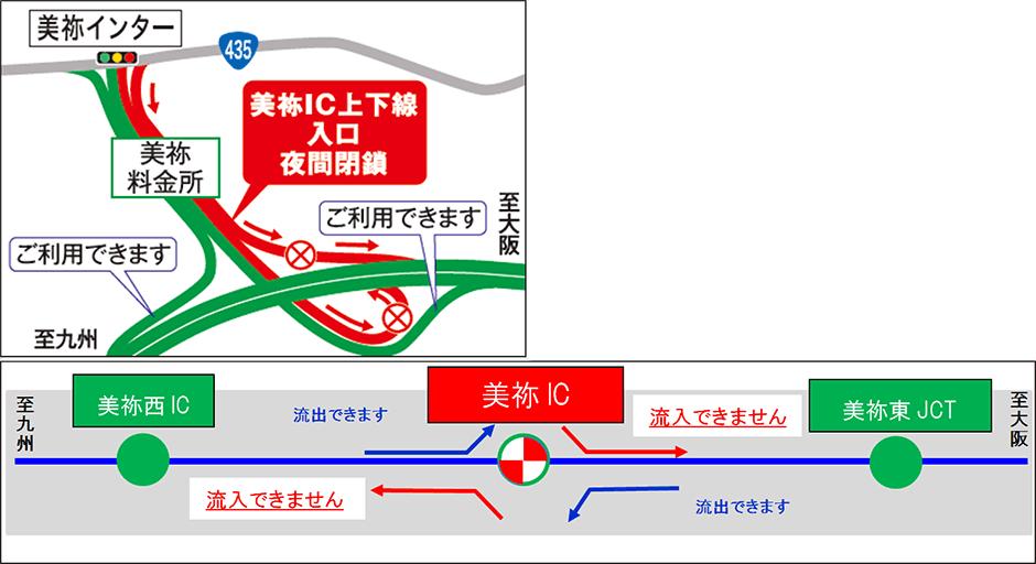 中国自動車道 美祢IC 入口・出口夜間閉鎖を実施