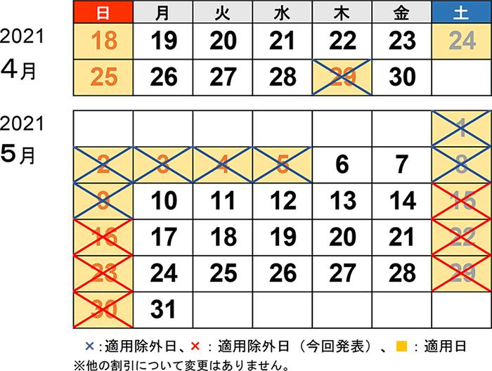 5月30日まで休日割引の適用除外を延長