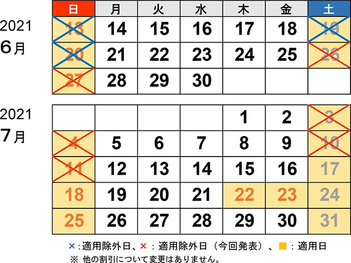 7月11日まで休日割引の適用除外を延長します